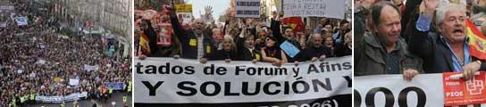 Afectados por la estafa filatélica en las calles de Madrid.