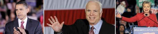 barack Obama, Jhon McCain y Hillary Clinton. (EFE)