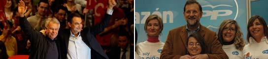 Zapatero y Rajoy a 3 días de las elecciones