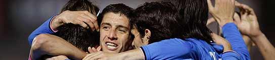 El Getafe celebra el gol de Albín. (Reuters)