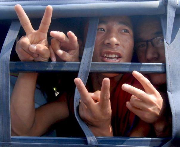 Monjes budistas detenidos.