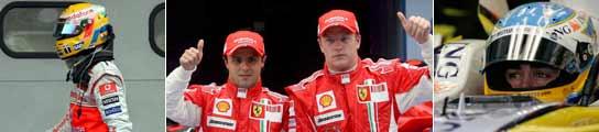 Hamilton, Massa y Rakkonen y Alonso