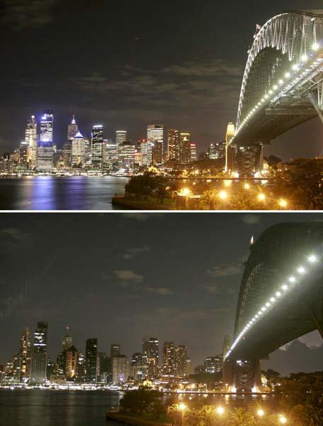 Instantánea de Sydney antes y durante el apagón
