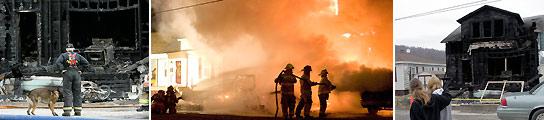 El incendio de la vivienda, donde murieron diez personas, ha conmocionado a la localidad de Brockway. (AP).