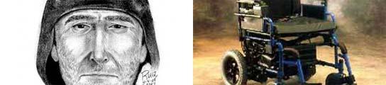 El retrato robot del atracador y una silla de ruedas eléctrica.