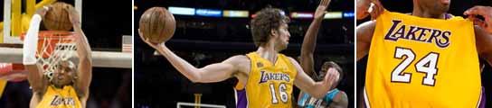 Instantáneas de Kobe y Pau ante los Hornets