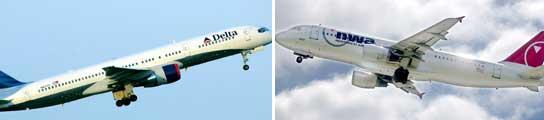 Un avión de la aerolínea Delta Air Lines y otro de Northwest Airlines. (EFE)
