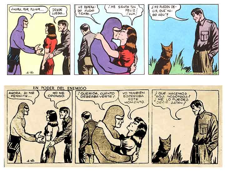 Viñetas censuradas. Un ejemplo de la censura a una viñeta de El Fantasma, el personaje de Lee Falk cuyas aventuras se siguen publicando en medio mundo.