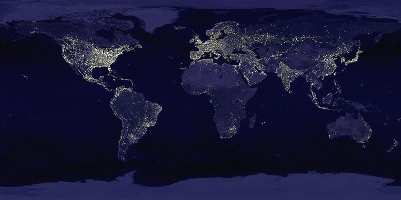 Ciudades de noche, Mapamundi