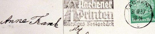 Una postal de Anne Frank