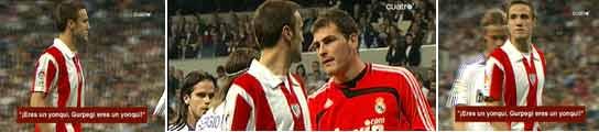 Gurpegui escucha los insultos y Casillas lo anima