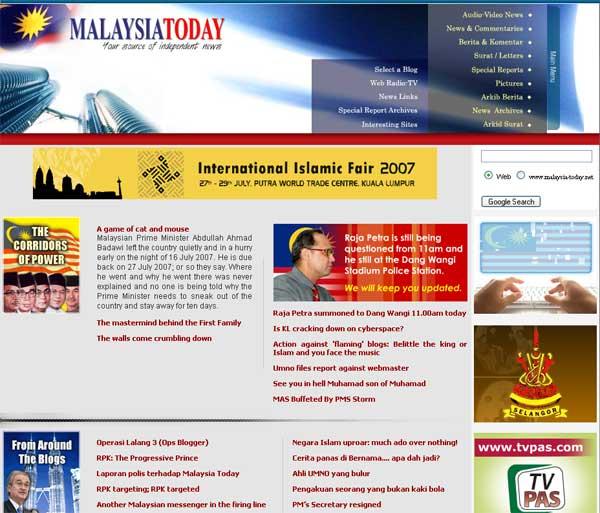 Captura de la web 'Malaysia Today'