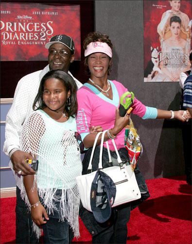 Whitney Houston y Bobby Brown con su hija