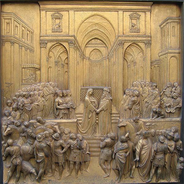 Salomón y la Reina de Saba en las puertas del bapisterio de Florencia.