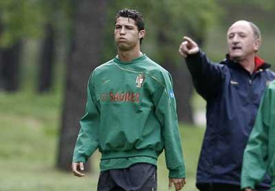 Cristiano Ronaldo con Scolari