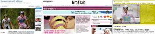 Algunas de las informaciones sobre el triunfo de Contador en la prensa extranjera