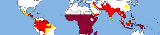 Esquema de distribución de la malaria en el mundo