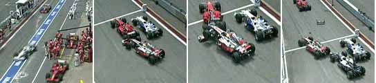 Choque de Hamilton con Raikkonen