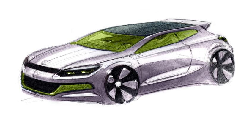 Volkswagen Scirocco: uno de los primeros bocetos de lo que, hoy en día, ya es una realidad.
