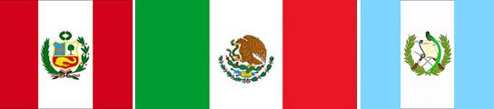 Banderas de Perú, México y Guatemala