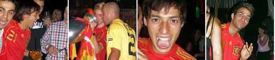 Fotos de celebración de los jugadores de la selección celebrando la Eurocopa
