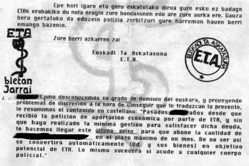 Cartas de extorsión de ETA