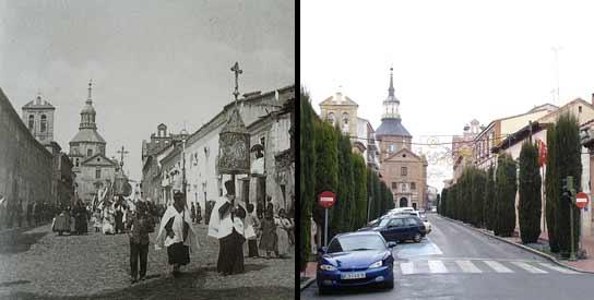 Calle de los Escritorios, en Alcalá de Henares, con muchos años de diferencia. La foto de la izquierda data de 1897.