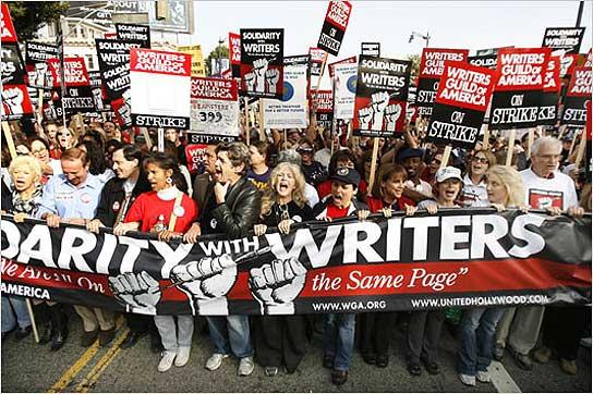Imagen de una manifestación en la pasada huelga de guionistas.