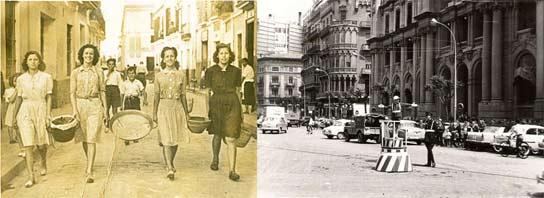 Fotos antiguas de Valencia y Sevilla.