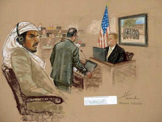Foto de archivo fechada el pasado 22 de julio de 2008 que muestra el dibujo del ilustrador de los juicios estadounidense Janet Hamlin, que muestra al acusado Salim Hamdan durante el juicio militar por crímenes de guerra