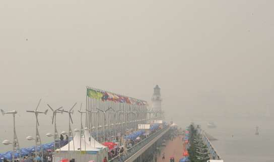Falta de viento en Qingdao