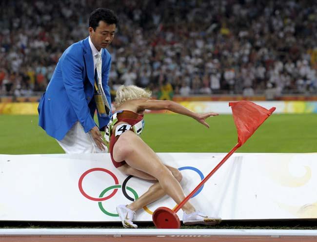Esta caída ha privado a Marta Domínguez de la medalla.