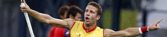 Santi Freixa celebra uno de sus goles