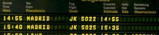 Panel informativo en el aeropuerto de Gran Canaria