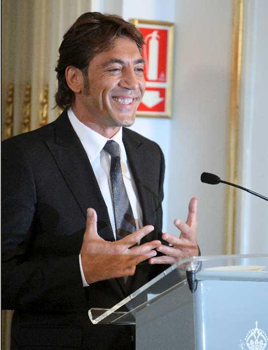 Javier Bardem, agradeciendo el Premio Nacional de Cine.