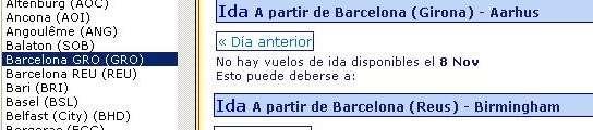 La compañía Ryanair confunde Barcelona con Girona y Tarragona en su página web