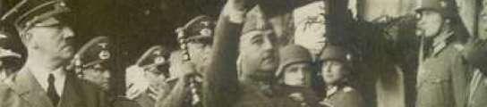 Franco y Hitler saludan a las tropas en Hendaya.