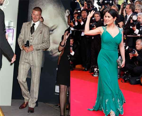 David Beckham y Salma Hayek.