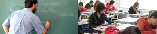 Profesor y alumnos de instituto.
