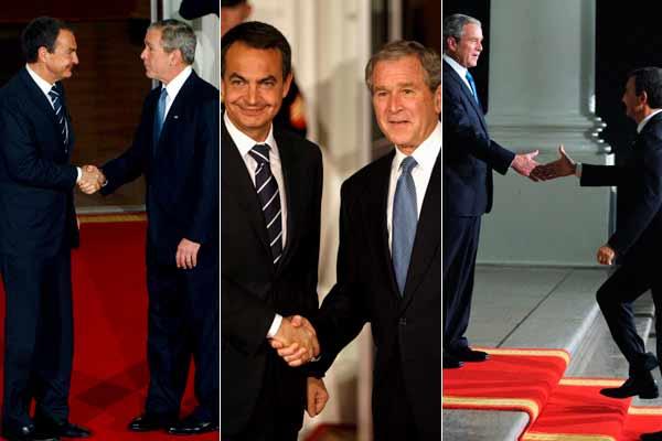 Bush y Zapatero se saludan a la llegada de éste a la Casa Blanca.