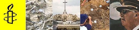 De izquierda a derecha, el logotipo de Amnistía Internacional, una fosa común del franquismo, el Valle de los Caídos, restos de represaliados por la dictadura y el dictador Francisco Franco