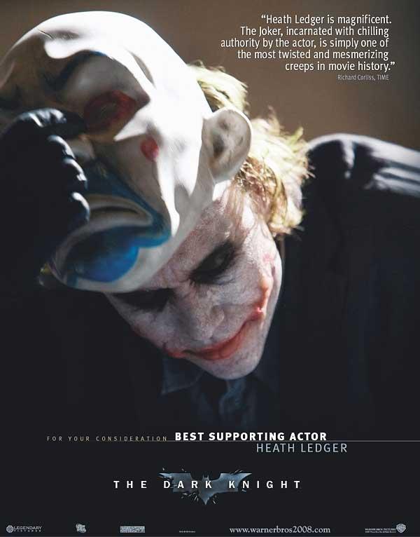 Anuncio de Warner pidiendo una candidatura para Ledger en los Oscar.
