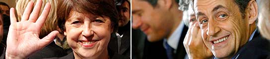 Aubry y Sarkozy, líderes de sus partidos