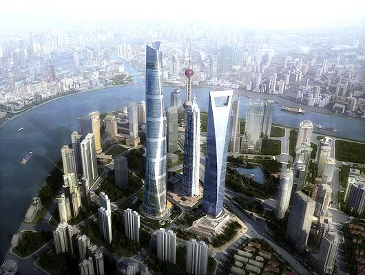 Rascacielos en Shangai (28/11/2008). El segundo rascacielos más alto del mundo, con 128 pisos y 632 metros, se llamará Torre de Shanghai y empezará a ser construido este fin de semana en la metrópolis china; estará listo para 2014. En la imagen, recreación por ordenador de cómo será el edificio.