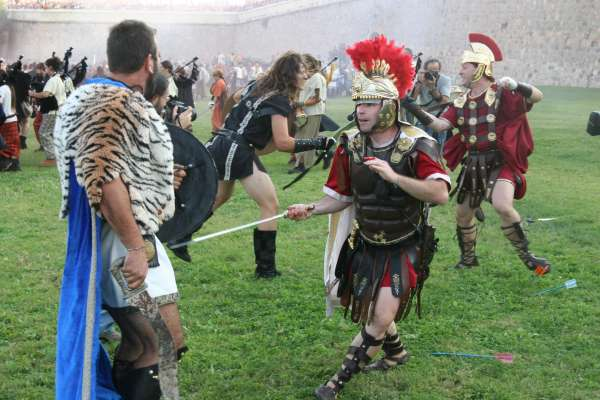 Recreación de una batalla romana