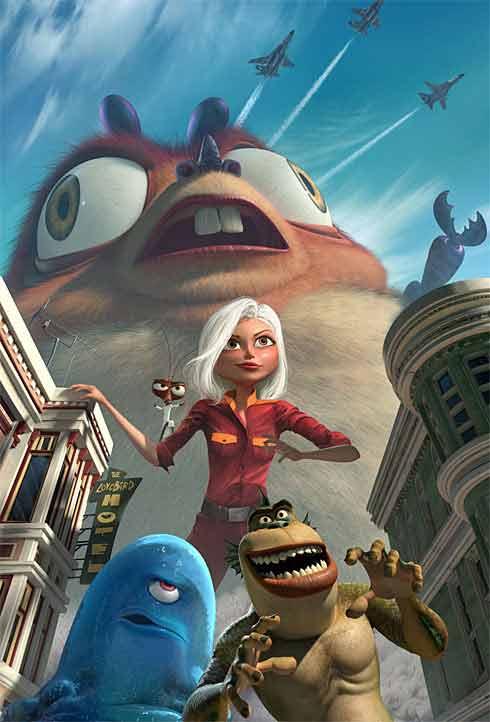 Cartel promocional de Monsters vs. Aliens, de Dreamworks.