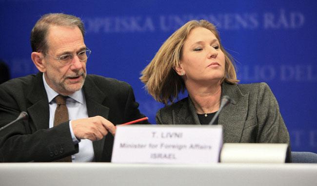 Tzipi Livni y Javier Solana
