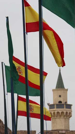 Banderas de España y Libia