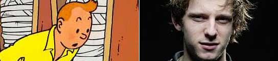 Tintín, personaje creado por Hergé, y el actor Jamie Bell.