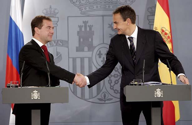 José Luis Rodríguez Zapatero y Dmitri Medvédev